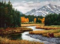 Oil painting of Alaskan fall day.