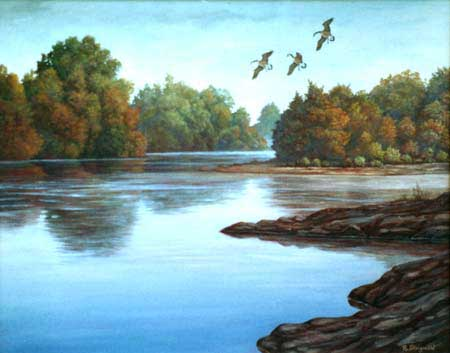 Oil painting of The American River, Sacramento, CA.