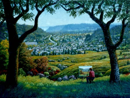 Oil painting of Scotts Valley vista.