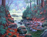 Oil painting of woodland stream.