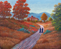 Oil painting of two Sisters walking towards Cathedral.