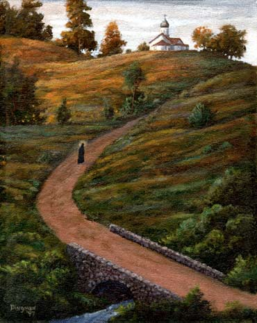 Oil painting of monk on road to church.