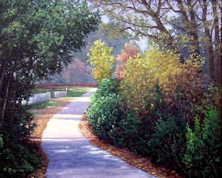 Oil painting of a country road.