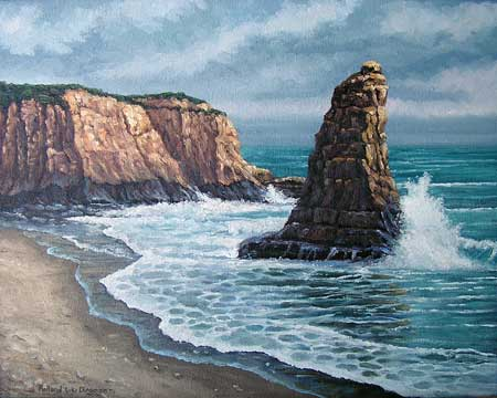 Oil painting of Big Sur Coast.