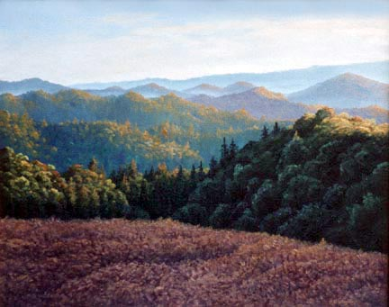Oil painting of vista from Bear       Creek Road in the evening.