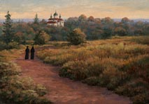 Oil painting of nuns walking to Vespers.