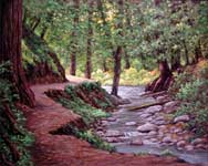Oil painting of Fall Creek trail.