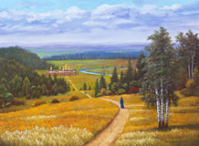Oil painting of woman monastic walking to a church in distance.