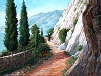 Oil painting of trail on Mt. Athos.