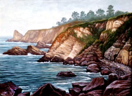 Oil painting of ocean & cliffs near Ft. Ross.