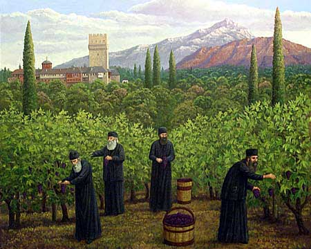 Oil painting of monks harvesting grapes.