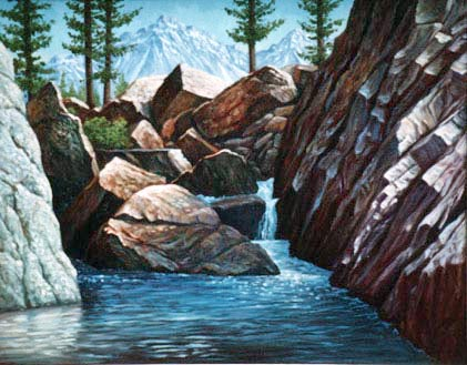 Oil painting of a mountain pool.