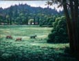 Oil painting of horses in a meadow.