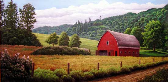 Oil painting of red barn in Kalama, WA.