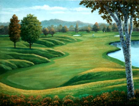 Oil painting / golf green.