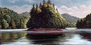 Oil painting of Loch Lomond reservoir, Ben Lomond, California.