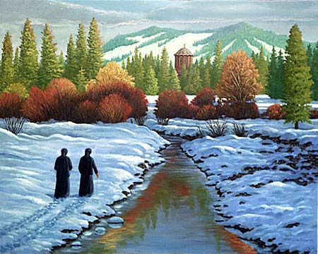 Oil painting of nuns walking to Matins.
