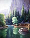 Oil painting of Merced River.