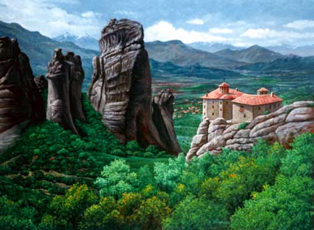 Oil painting of monastery.