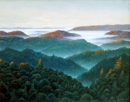 Oil painting of vista from Bear       Creek Road in the morning.