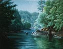Oil painting of lake.