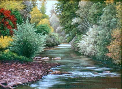 Oil painting of San Lorenzo River at Felton.