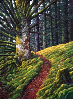 Oil painting of moss lined trail in       Alaska.