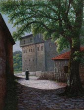 Oil painting of Philotheou Monastery, Mt. Athos.