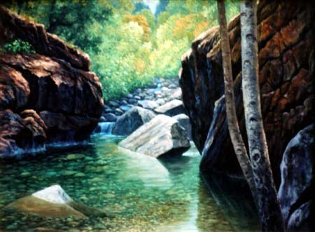 Oil painting / mountain pool.