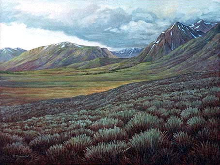 Oil painting of sage brush in the Sierra's.