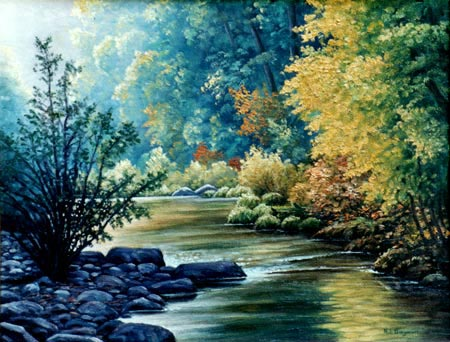 Oil painting-San Lorenzo River.