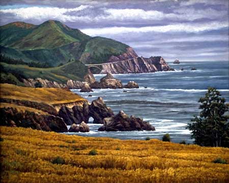 Oil painting of Big Sur looking South, CA.