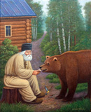 St. Seraphim feeding the bear.