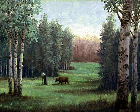 Oil painting of St. Seraphim walking with bear.