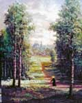 Oil painting of monk on road to cathedral.
