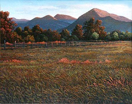 Oil painting of a Sierra foothills meadow.