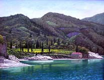 Oil painting of trail up Mt. Athos, Greece.