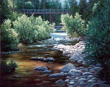 Oil painting of an abandoned bridge on        the San Lorenzo River just below the artist's studio.