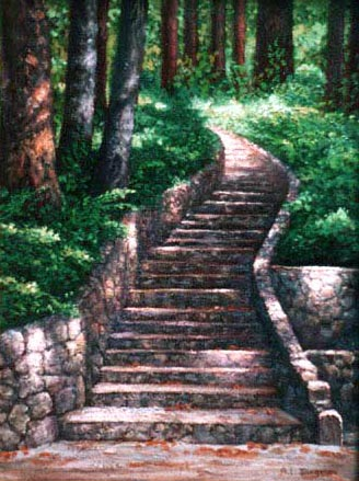 Oil painting of stone stairway.
