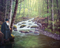 Oil painting of monk sitting on bank of creek.