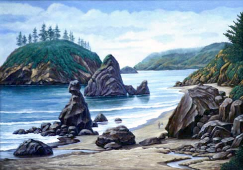 Oil painting of Trinity Bay, Northern CA coast.