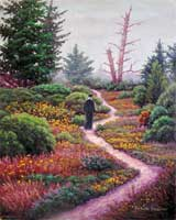 Oil painting of monk on winding path.