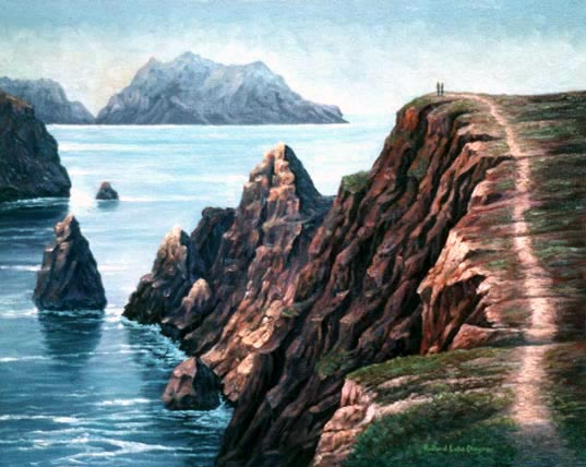 Oil painting of Channel Islands.