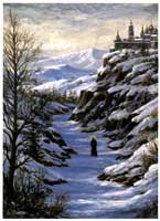 Oil painting of monk on snowy trail.