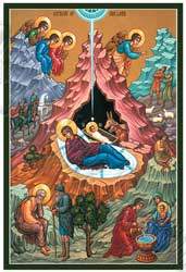 Icon of many-figures Nativity